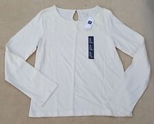 GAP KIDS Girls White Lace Panel Long Sleeved T Shirt XL 12 Years Cotton Blend