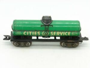 "Marx 3/16"" O Scale Cities Service Tank Car 2532 on Scale Trucks"