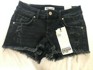 Zara black denim low rise / hotpants shorts size 6 (34) BNWT