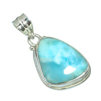 CARIBBEAN LARIMAR NATURAL GEMSTONE 925 SOLID STERLING SILVER JEWELERY PENDANT