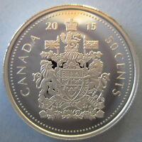 CANADA 2015 50 CENTS 99.99% PROOF SILVER HALF-DOLLAR HEAVY CAMEO COIN
