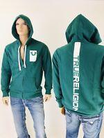 $149 Deboss True Religion Men Hoodie Zip Up Active Wear Jacket Sportswear Green