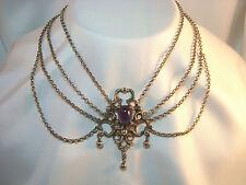 Trachtenkette mit Amethyst 835 er Silber Collier Kette Kropfkette / ax 492