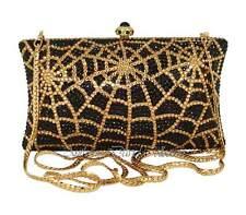 Anthony David Black & Gold Spider Web Clutch Evening Bag with Swarovski Crystals