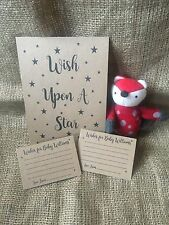 x12 personalised wishes for baby cards & small sign, baby shower activity, game