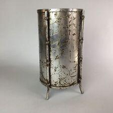 Vintage Italian Silver Gilt Tole Metal Faux Bamboo Wastebasket