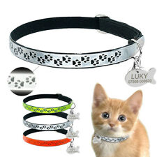 Reflective Personalized Cat Collar & Id Name Tags Engraved Elastic for Small Dog