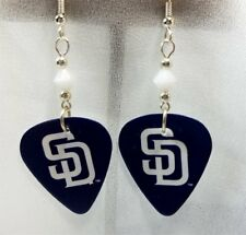 MLB San Diego Padres Guitar Pick Earrings with White Swarovski Crystals