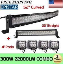 "Curved 52Inch LED Light Bar + 22in +4"" CREE PODS OFFROAD SUV 4WD ATV VS 52/42/20"