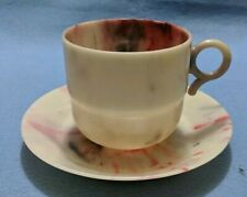 Hand Made Bandalasta 194 and 196 Cup and Saucer Set with Red and Black swirl