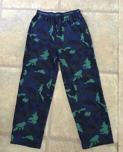 Calvin Klein Boy s Size 10/12 Navy & Bright Green Printed Lounge Pants