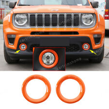 Orange ABS Front Fog Light Lamp Ring Cover Trim 2PCS Fit For Jeep Renegade 2019+