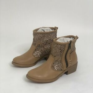 New Coolway Ainhoa Leather Tan Lace Ankle Boots Bootie 7 Womens Brown