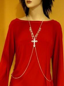 SILVER METAL BODY CHAIN Religious Jewelry GOTHIC CROSS Filigree Dangle Drip OSFM
