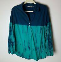 Soft Surroundings Women's Top Size Medium Popover Blouse Casual Cotton Blue