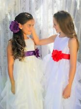 Wedding Pageant White Ruffled Organza Flower Girl Dress Sequin Toddler 168T