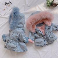 Infant Kid Baby Girl Hooded Faux Fur Fleece Winter Warm Thick Denim Coat Outwear