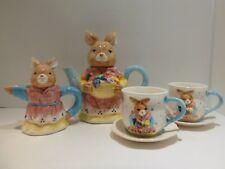Battat Tea Set Child Bunny Rabbit Teapot Creamer Cup and Saucer Set