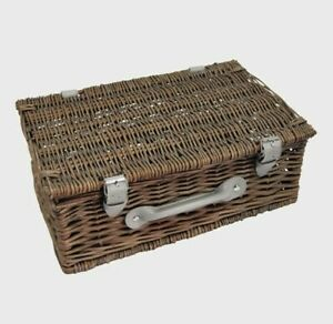 Vintage Small Hamper Antique Grey Wicker Picnic Basket Dining Storage Weaved
