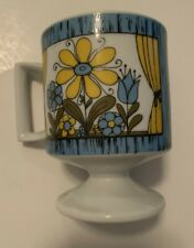 RETRO ViNTAGE 60s 70s FLOWERS FOOTED COFFEE CUP MUG's