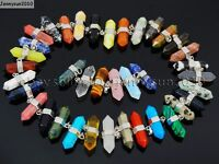 Natural Gemstones Horizontal Hexagonal Pointed Reiki Chakra Pendant Charm Beads