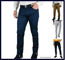 pantaloni jeans da uomo slim fit elasticizzati estivi cotone casual eleganti blu