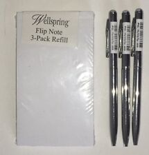 Pk of 3 Wellspring Flip Note Refill Paper Pads #2204 + 3 SILVER Replacement Pens
