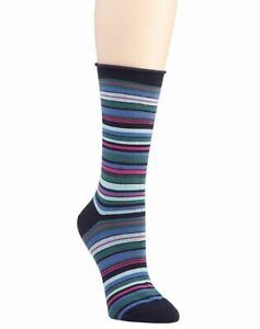 Hue Women's Jeans Crew Socks, Navy Striped, One Size