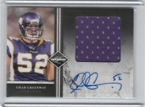 2011 Panini Limited Chad Greenway Game Used Jersey Relic Auto Autograph /10