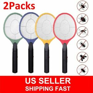 2 Packs Electric Racket Fly Swatter Mosquito Bug Zapper Wasp Insect Killer Safe
