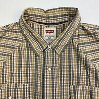 Levi's Button Up Shirt Mens 2XL XXL Green Orange Tan Check Pearl Snap Pockets