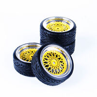4Pcs Rubber Tire & Wheel Rim 12mm Hex For HSP HPI 1/10 RC On-Road Drift Car