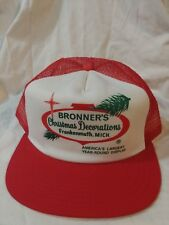 Bronners Christmas Decorations Hat Red Mesh Trucker SnapBack New