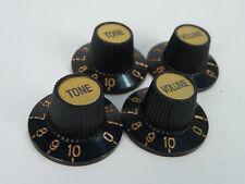 4 Vintage Witch Hat Knobs Matel Gold Top Embossed Jazz Guitar Volume Tone VGT