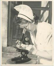 1953 OCCUPATIONAL PHOTO NURSE IN UNIFORM IRENE CHASE SLIDE   MICROSCOPE