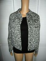 Cool D. Jeans size S gray white leopard print button front jean jacket women NWT