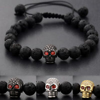 Punk Man's Zircon Skull Head Black Rock Lava Stone Macrame Adjustable Bracelets