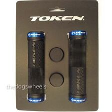 Token Gel Mountain Bike Bicycle MTB Handlebar Grips Lock-on Blue / Black