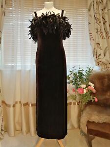 Kaleidoscope Velour Real Feather trim Black Party Dress Size 12