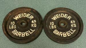 (2) Vintage Weider Cast Iron 10 pound Plate Weights 1 inch hole (20 #s total wt)