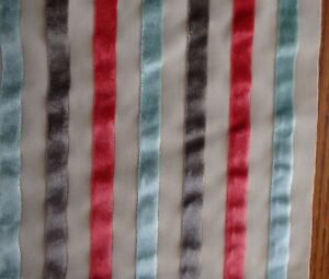 Material Fabric Beige with Velvet Ribbons Beige Red Blue Brown 48x33 1.3 Yards