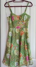 girls from Savoy Anthropologie  rose bramble green floral silk dress m