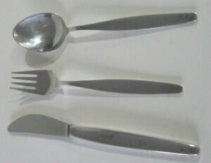 GEORG JENSEN 3 PIECE STERLING SILVER  SET  FORK, SPOON,KNIFE PERFECT