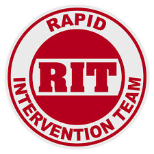 RIT Rapid Intervention Team Small Round Reflective Emergency Firefighter Decal