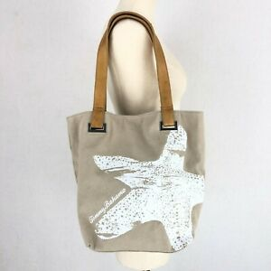 Tommy Bahama Tan Cotton Canvas Leather Starfish Sea Star Graphic Tote Bag
