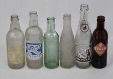 Lot of 6 Vintage Soda Pop Glass Bottles - Dr. Pepper, Moxie, Brownie, Frostie
