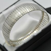 Wide & Heavy Italian Vintage Domed Strap Design Bracelet in 925 Sterling Silver