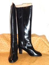 BALIZZA Bottes Vintage Tout Cuir Noir Talons Coniques T 35