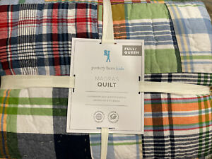 Pottery Barn Kids Madras Plaid Quilt Full / Queen F/Q - Preppy and Classic!
