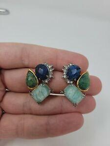 Vintage Alexis Bittar Multi Stone Clip Earrings